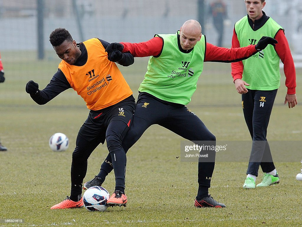 Daniel Sturridge and Jonjo Shelvey of Liverpool in action during a training session at Melwood Training Ground on April 11, 2013 in Liverpool, England.