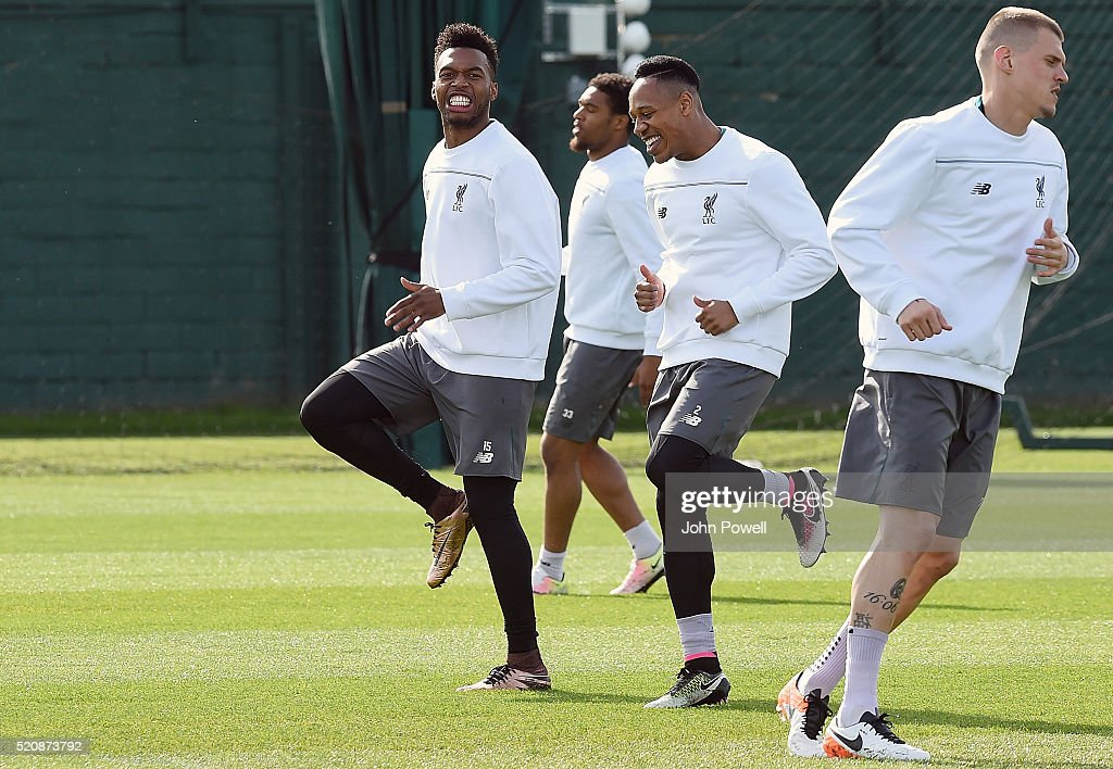 Daniel Sturridge and Nathaniel Clyne of Liverpool during a training session at Melwood Training Ground on April 13, 2016 in Liverpool, England.
