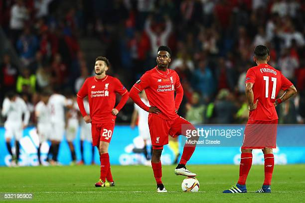 Daniel Sturridge and Roberto Firmino of Liverpool react after Sevilla's second goal during the UEFA Europa League Final match between Liverpool and...