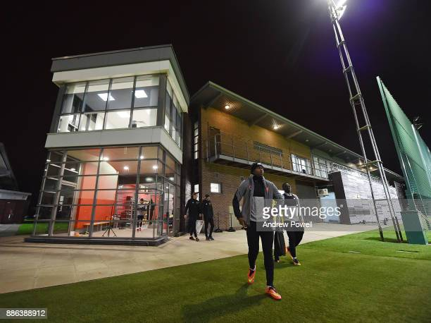 Daniel Sturridge and Sadio Mane of Liverpool during a training session at Melwood Training Ground on December 5 2017 in Liverpool England