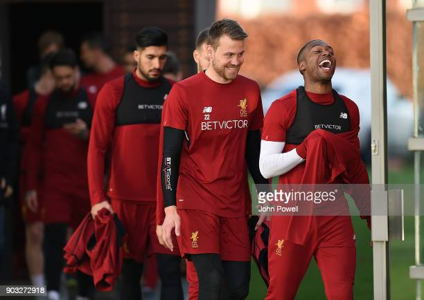 Daniel Sturridge and Simon Mignolet of Liverpool during a training session at Melwood Training Ground on January 10 2018 in Liverpool England