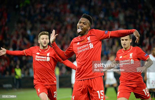 Daniel Sturridge celebrates after scoring Liverpool's goal during the UEFA Europa League Final match between Liverpool and Sevilla at St JakobPark on...