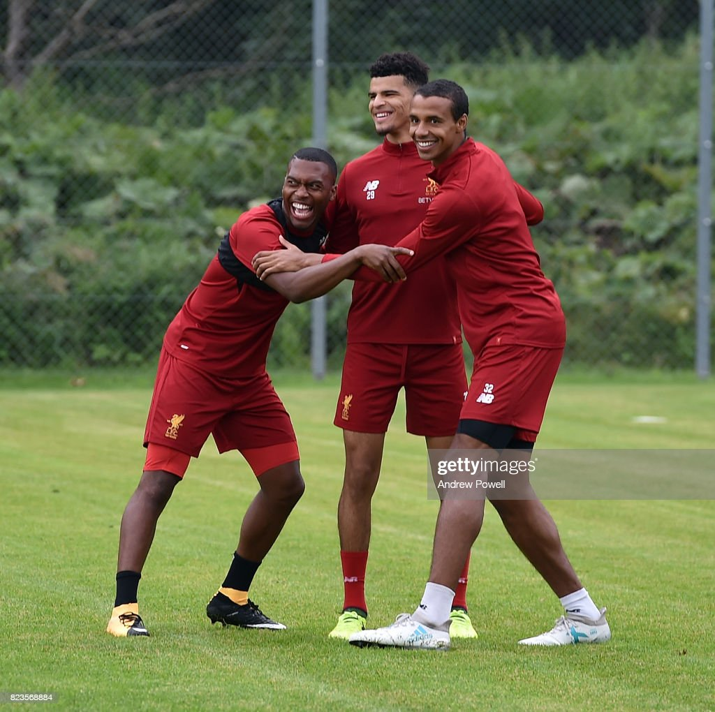 Daniel Sturridge, Dominic Solanke and Joel Matip of Liverpool during a training session at Rottach-Egern on July 27, 2017 in Munich, Germany.