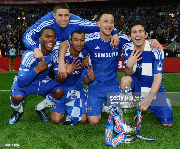 Daniel Sturridge Gary Cahill Ashley Cole John Terry and Frank Lampard celebrate with the trophy during the FA Cup Final with Budweiser between...