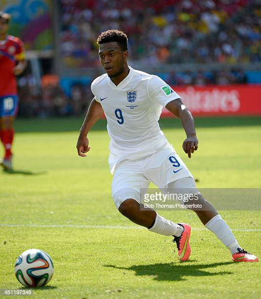 Daniel Sturridge in action for England during the 2014 FIFA World Cup Brazil Group D match between Costa Rica and England at Estadio Mineirao on June...