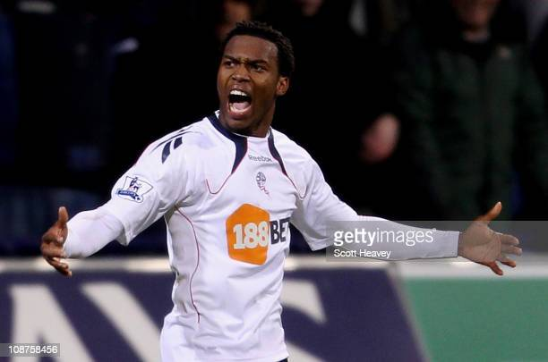 Daniel Sturridge of Bolton celebrates after scoring their winner during the Barclays Premier League match between Bolton Wanderers and Wolverhampton...