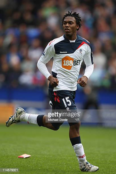 Daniel Sturridge of Bolton Wanderers in action during the Barclays Premier League match between Bolton Wanderers and Manchester City at the Reebok...