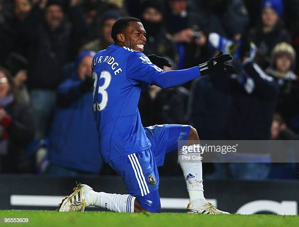 Daniel Sturridge of Chelsea as he scores their fifth goal during the FA Cup sponsored by EON Final 3rd round match between Chelsea and Watford at...