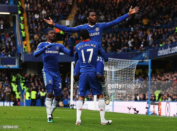 Daniel Sturridge of Chelsea celebrateds with teammates Salomon Kalou and Jose Bosingwa as he scores their second goal during the FA Cup sponsored by...