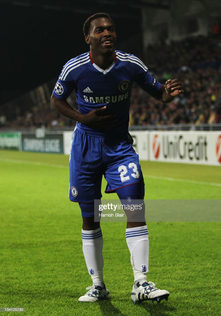 Daniel Sturridge of Chelsea celebrates as he scores their fourth goal during the UEFA Champions League Group F match between MSK Zilina and Chelsea at the Pod Dubnom Stadium on September 15, 2010 in Zilina, Slovakia.
