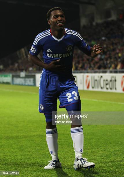 Daniel Sturridge of Chelsea celebrates as he scores their fourth goal during the UEFA Champions League Group F match between MSK Zilina and Chelsea...