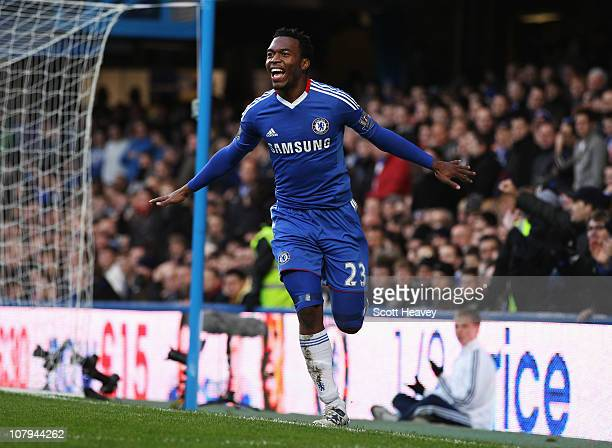 Daniel Sturridge of Chelsea celebrates as he scores their second goal during the FA Cup sponsored by E.ON 3rd round match between Chelsea and Ipswich...