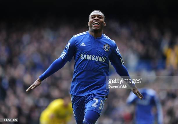 Daniel Sturridge of Chelsea celebrates his goal and Chelsea's 3rd during a FA Cup 5th Round match between Chelsea and Cardiff City at Stamford Bridge...