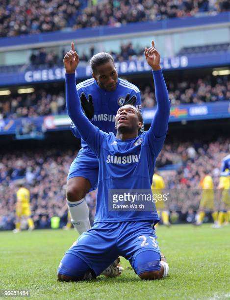 Daniel Sturridge of Chelsea celebrates his goal and Chelsea's 3rd with Didier Drogba during a FA Cup 5th Round match between Chelsea and Cardiff City...
