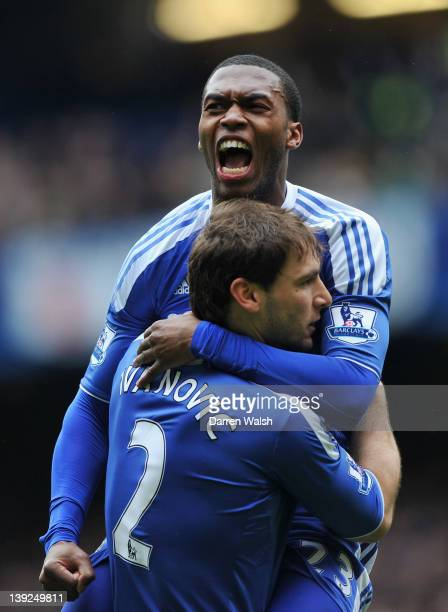 Daniel Sturridge of Chelsea celebrates his goal with Branislav Ivanovic of Chelsea during the FA Cup with Budweiser Fifth Round match between Chelsea...
