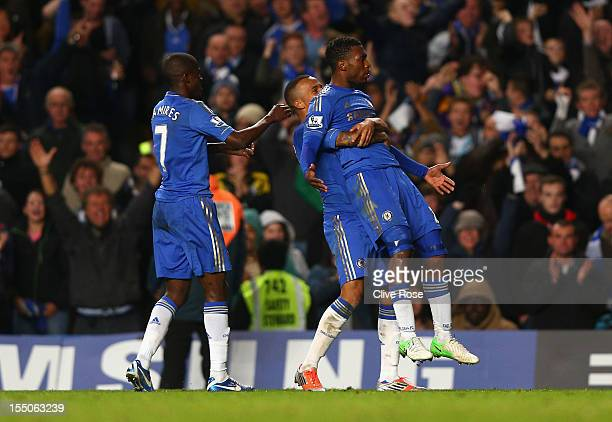 Daniel Sturridge of Chelsea celebrates his goal with team mates during the Capital One Cup Fourth Round match between Chelsea and Manchester United...
