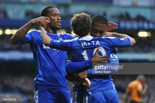 Daniel Sturridge of Chelsea celebrates scoring his side's second goal with team mates Juan Mata and Didier Drogba during the Barclays Premier League...