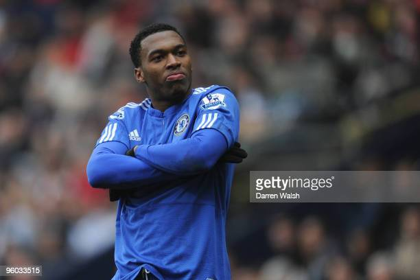Daniel Sturridge of Chelsea celebrates scoring his team's second goal during the FA Cup sponsored by E.ON Fourth round match between Preston North...