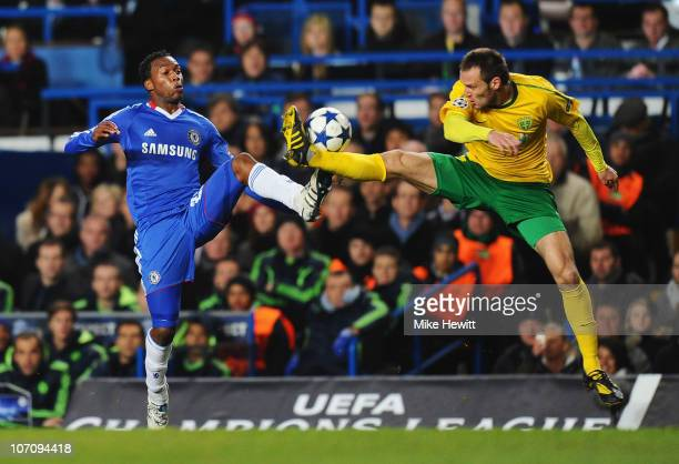 Daniel Sturridge of Chelsea challenges Jozef Piacek of MSK Zilina during the UEFA Champions League Group F match between Chelsea and MSK Zilina at...