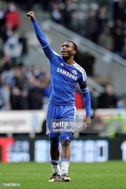 Daniel Sturridge of Chelsea salutes the fans at the end of the Barclays Premier League match between Newcastle United and Chelsea at the Sports...