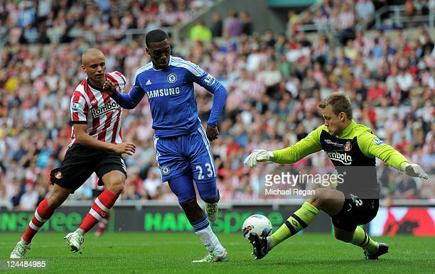 Daniel Sturridge of Chelsea scores his team's second goal during the Barclays Premier League match between Sunderland and Chelsea at the Stadium of...