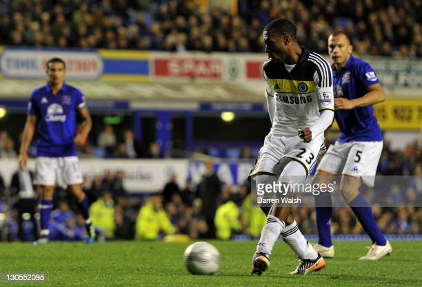 Daniel Sturridge of Chelsea scores the winning goal in extra time during the Carling Cup Fourth Round match between Everton and Chelsea at Goodison...