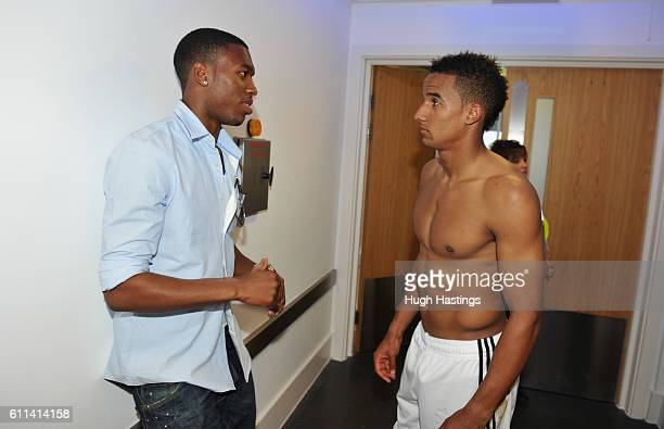 Daniel Sturridge of Chelsea with ex player Scott Sinclair after the Barclays Premier League match between Chelsea and Swansea City at Stamford Bridge...
