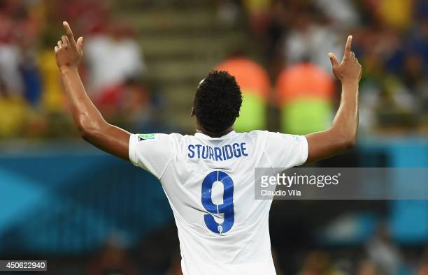 Daniel Sturridge of England celebrates after scoring England's first goal during the 2014 FIFA World Cup Brazil Group D match between England and...