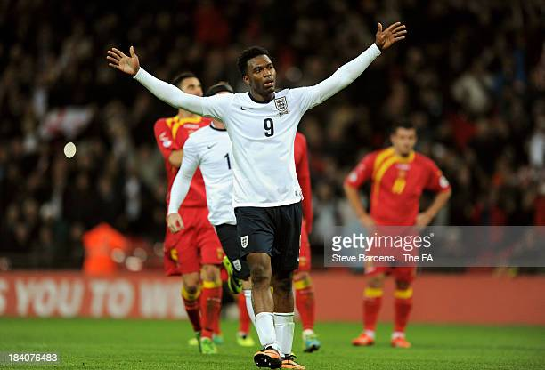 Daniel Sturridge of England celebrates after scoring his team's fourth goal from the penalty spot during the FIFA 2014 World Cup Qualifying Group H...