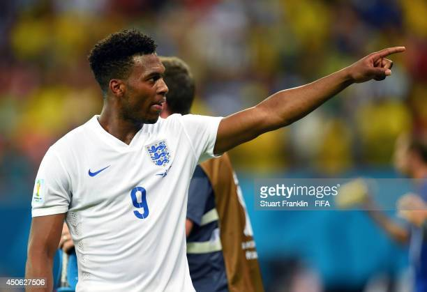 Daniel Sturridge of England celebrates after scoring the team's first goal during the 2014 FIFA World Cup Brazil Group D match between England and...