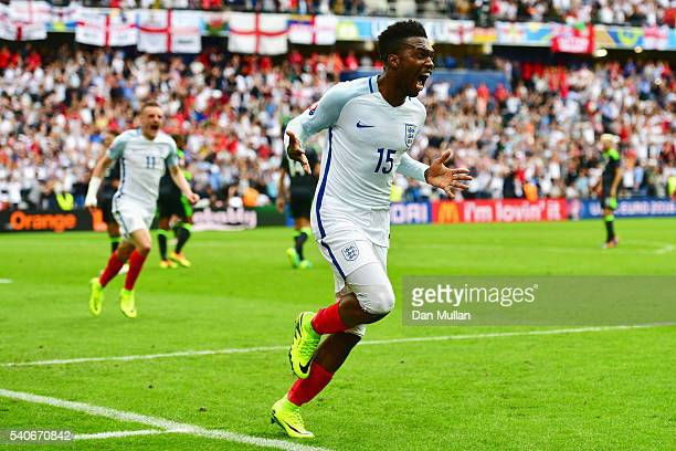 Daniel Sturridge of England celebrates England's second goal during the UEFA EURO 2016 Group B match between England and Wales at Stade...