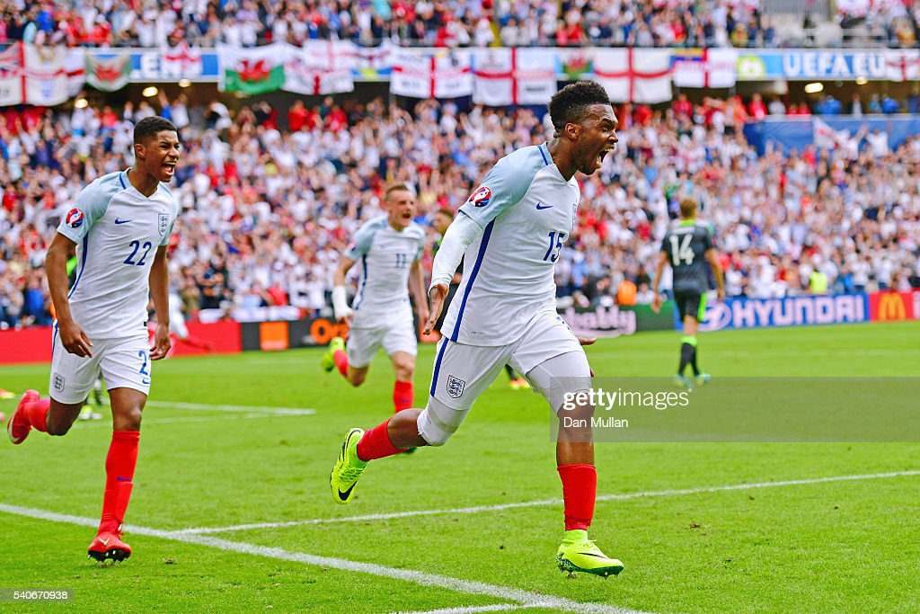 Daniel Sturridge of England celebrates England's second goal during the UEFA EURO 2016 Group B match between England and Wales at Stade Bollaert-Delelis on June 16, 2016 in Lens, France.