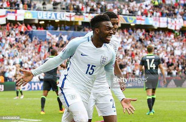 Daniel Sturridge of England celebrates his goal during the UEFA EURO 2016 Group B match between England v Wales at Stade Bollaert-Delelis on June 16,...