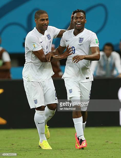 Daniel Sturridge of England celebrates scoring during the opening Group D match of the 2014 World Cup between England and Italy at Arena Amazonia on...