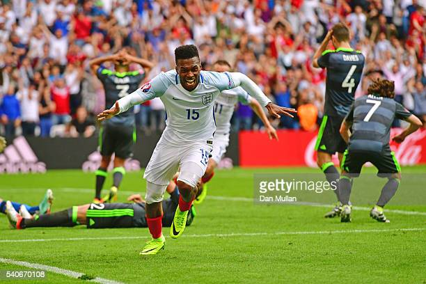 Daniel Sturridge of England celebrates scoring England's second goal during the UEFA EURO 2016 Group B match between England and Wales at Stade...