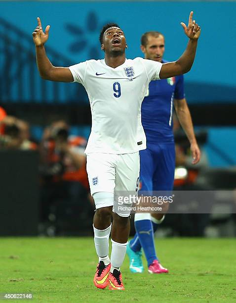 Daniel Sturridge of England celebrates scoring his team's first goal during the 2014 FIFA World Cup Brazil Group D match between England and Italy at...