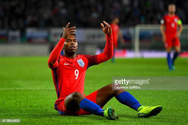 Daniel Sturridge of England reacts during the FIFA 2018 World Cup Qualifier Group F match between Slovenia and England at Stadion Stozice on October...