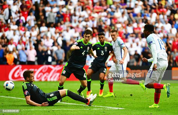 Daniel Sturridge of England scores his team's second goal during the UEFA EURO 2016 Group B match between England and Wales at Stade BollaertDelelis...