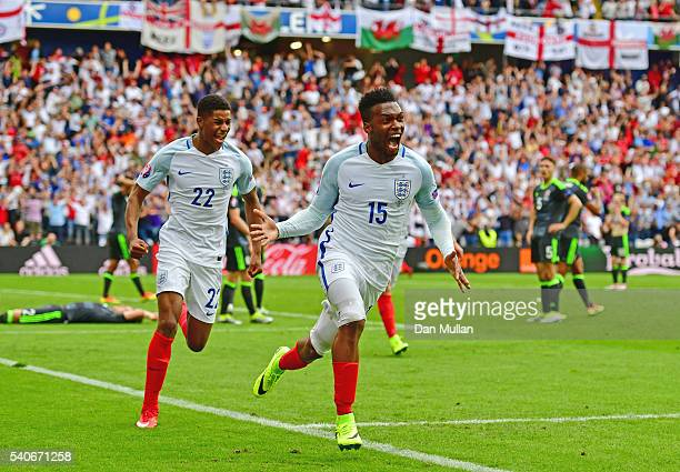 Daniel Sturridge of England scores his team's second goal during the UEFA EURO 2016 Group B match between England and Wales at Stade Bollaert-Delelis...