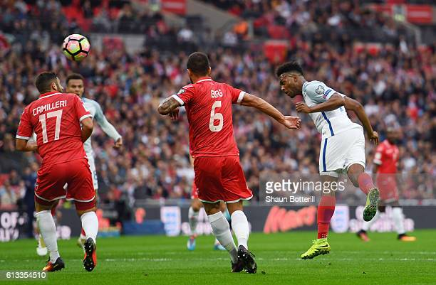 Daniel Sturridge of England scores the opening goal of the game during the FIFA 2018 World Cup Qualifier Group F match between England and Malta at...