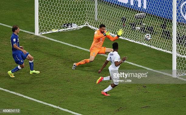 Daniel Sturridge of England shoots and scores his team's first goal past Salvatore Sirigu of Italy during the 2014 FIFA World Cup Brazil Group D...
