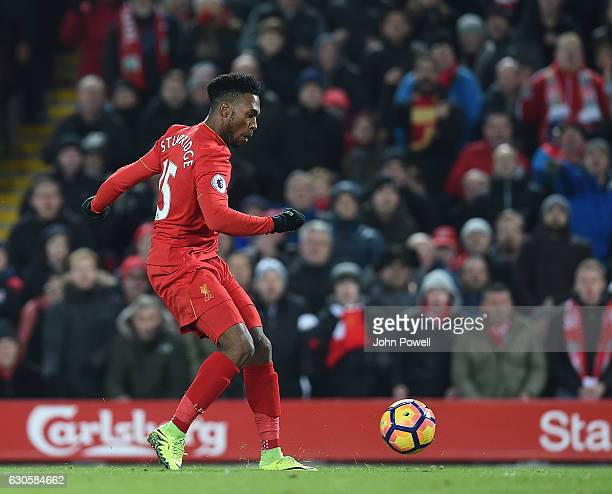 Daniel Sturridge of Liveprool scores the fourth goal for his teamduring the Premier League match between Liverpool and Stoke City at Anfield on...