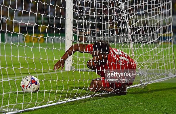 Daniel Sturridge of Liverpool after he scored the fourth during the EFL Cup match between Burton Albion and Liverpool at the Pirelli Stadium on...