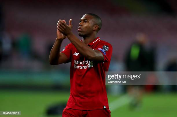 Daniel Sturridge of Liverpool applauds after the Group C match of the UEFA Champions League between SSC Napoli and Liverpool at Stadio San Paolo on...