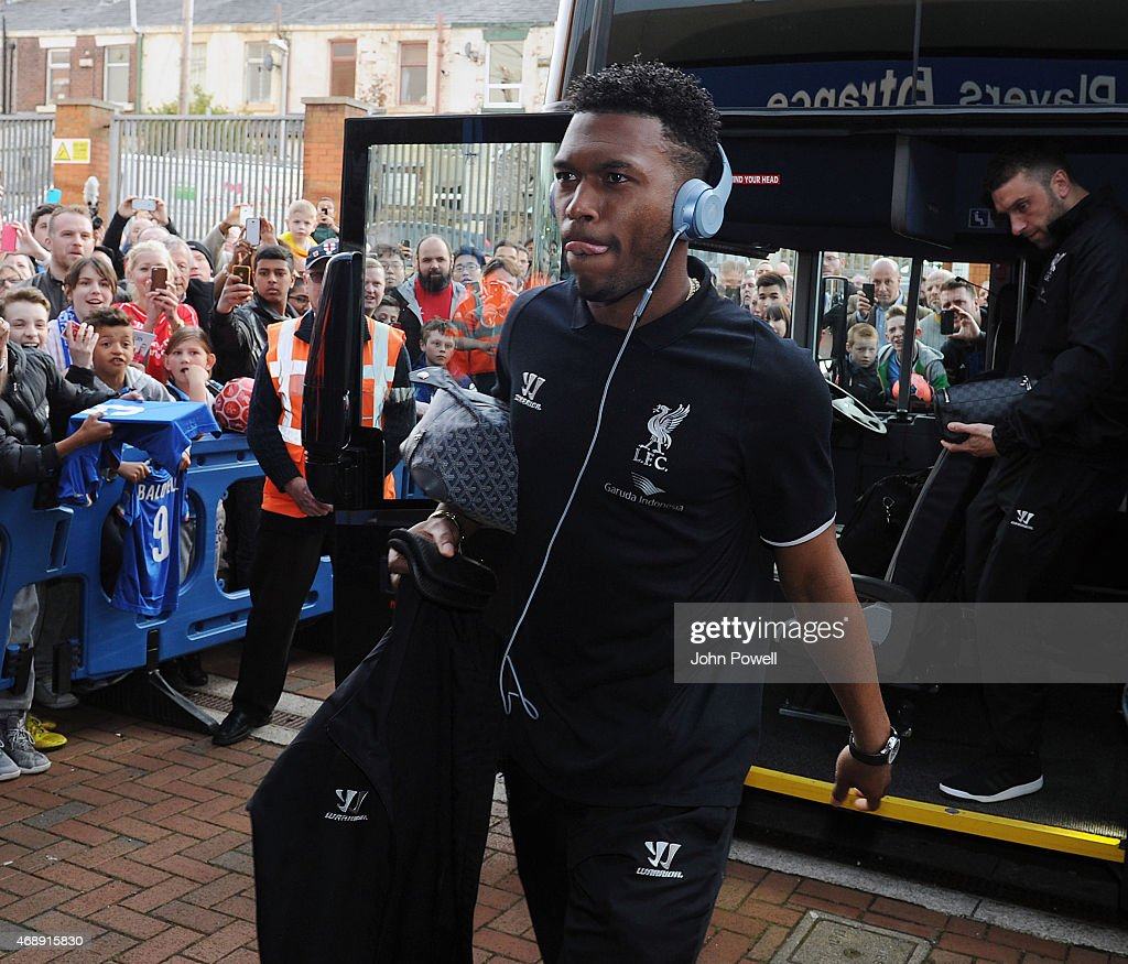 Daniel Sturridge of Liverpool arrives before the FA Cup Quarter Final Replay match between Blackburn Rovers and Liverpool at Ewood park on April 8, 2015 in Blackburn, England.