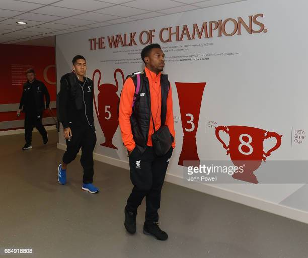 Daniel Sturridge of Liverpool arrives before the Premier League match between Liverpool and AFC Bournemouth at Anfield on April 5 2017 in Liverpool...