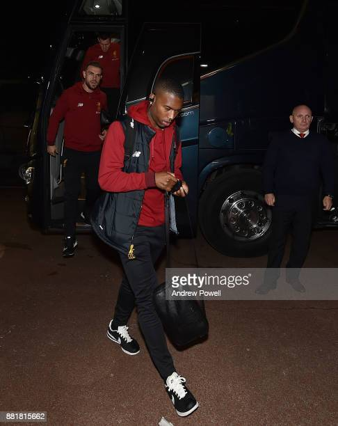 Daniel Sturridge of Liverpool arrives before the Premier League match between Stoke City and Liverpool at Bet365 Stadium on November 29 2017 in Stoke...