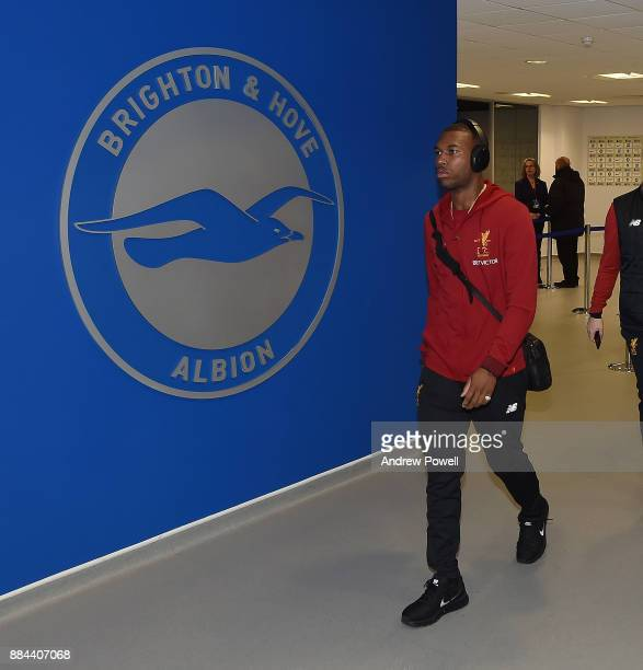 Daniel Sturridge of Liverpool arrives before the Premier League match between Brighton and Hove Albion and Liverpool at Amex Stadium on December 2...