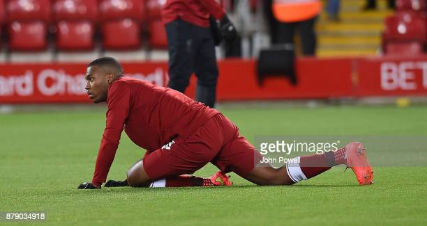 Daniel Sturridge of Liverpool before the Premier League match between Liverpool and Chelsea at Anfield on November 25 2017 in Liverpool England