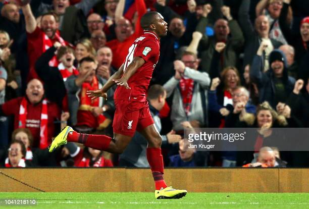 Daniel Sturridge of Liverpool celebrates after he scores his sides first goal during the Carabao Cup Third Round match between Liverpool and Chelsea...